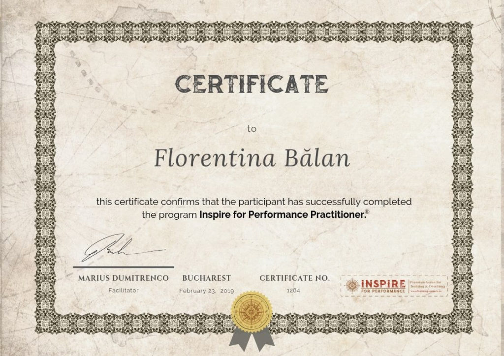 certificare inspire for performance practitioner