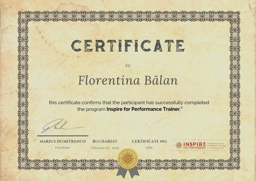certificare inspire for performance trainer